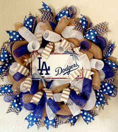 Baseball Wreath LA Dodgers by AnyOccasionWillDo on Etsy