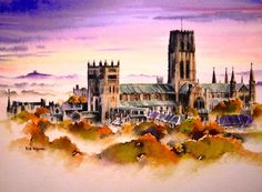 'Durham Mist', watercolour, 34 x 25 cm. A view of Durham Cathedral in the evening autumn mist across the River Wear. This cathedral, begun around 1090 and completed around 1135 is a UNESCO World Heritage Site and is regarded as one of the finest examples of Norman Architecture in England by Rob Wigham Watercolours