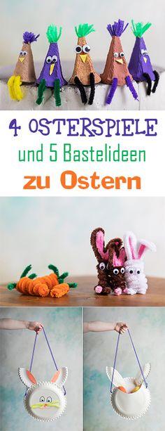 4 Osterspiele, sowie 5 Bastelideen und Basteltipps zu Ostern, die du mit deinen Kindern und der Familie zusammen machen kannst. #osterspiele #osterbasteln #ostern #diyostern #basteln # basteln ostern #deko ostern #deko #oster kinder #kinder basteln