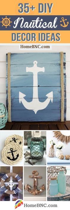 Nifty DIY Nautical Decor Ideas to Bring a Charming Atmosphere Indoors is part of Elegant Coastal decor - DIY nautical decor ideas you can easily make on a budget Get inspired by the best designs for and bring a charming atmosphere into your home Nautical Bathroom Decor, Nautical Bedroom, Nautical Home, Coastal Decor, Coastal Style, Nautical Style, Coastal Homes, Nautical Decor Outdoor, Nautical Decor Ideas