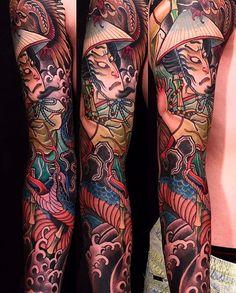 Japanese tattoo sleeve by @stupagdintattooer.  #japaneseink #japanesetattoo #irezumi #tebori #colortattoo #colorfultattoo #cooltattoo #largetattoo #armtattoo #tattoosleeve #snaketattoo #samuraitattoo #newschool #newschooltattoo #blackwork #blackink #blacktattoo #wavetattoo #naturetattoo