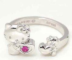 Hello Kitty 40th Anniversary Cute Ruby Ring Silver 925 Sanrio / FS Japan☆彡