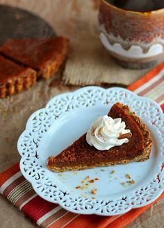 Rustic Vegan Oat Crisp Pumpkin Pie with Coconut Whipped Cream - ilovevegan.com