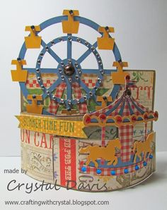 Bendy card Artiste ArtPhilosophy This is awesome! I should be so talented. Easel Cards, 3d Cards, Pop Up Cards, Fun Fold Cards, Folded Cards, Carousel Birthday, Carousel Party, Cricut Cards, Shaker Cards