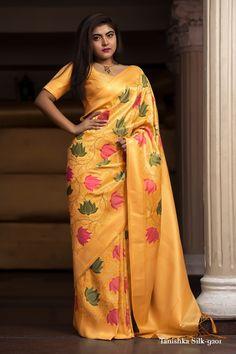 Indian Bridal Wear, Indian Ethnic Wear, Fashion Designer, Indian Designer Wear, Yellow Saree, Trendy Sarees, Latest Designer Sarees, Silk Sarees Online, Banarasi Sarees