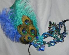 Metallic Masquerade Mask in Turquoise Lime by TheCraftyChemist07