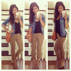 Khaki pants with black tank top and denim jacket. Cute with wedges