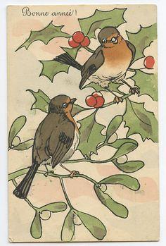 art Bird Robin Sparow Bird on Ilex aquifolium original vintage 1910s postcard | eBay