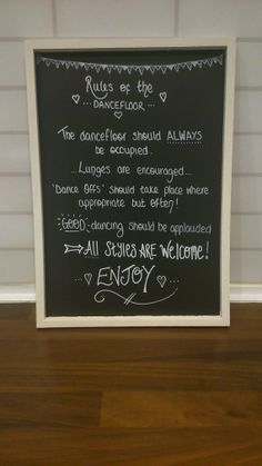 Wedding blackboard Rules of the Dancefloor sign by ItStartedWith, £9.00