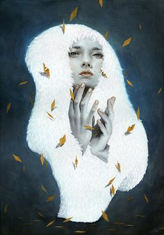 Artist painter Tran Nguyen. i love the contrast of the white and the dark navy.  the pops of gold are nice too