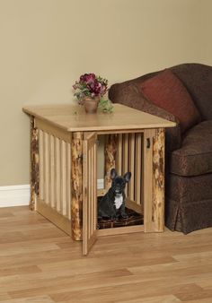 Large Wood Dog Crate End Table With Log Post