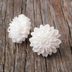 White Chrysanthemum Resin Flower Stud Earrings $14