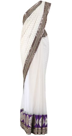 SABYASACHI  Cotton and net ivory saree with paan booties  Product Code - SSPQ81SB Price - $ 604