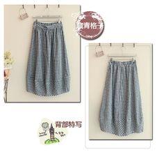 Gingham Elastic-waist Long Skirt - Fairyland | YESSTYLE