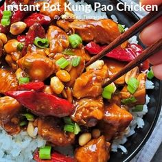 Instant Pot Kung Pao Chicken with peanuts in a spicy, sweet, sour & savory sauce tastes best with steamed rice. This is the closest to P. F. Chang's Kung Pao Chicken & a perfect recipe for busy weeknights.