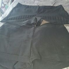 Shorts Lot 2 (not forever 21) 2 pairs of shorts. Hook and zipper closure works perfectly.  Can be easily dressed up or down. One solid black and the other black with pink and white pinstripe Forever 21 Shorts