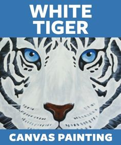 "Social Artworking: White Tiger | The Rocky theme song might play on repeat in your head while you paint the ""eye of the tiger"". The graphic black and white pattern with those piercing blue eyes will give a pop of the unexpected in your decor. This piece would also be ideal for a teen's bedroom. #socialartworking"