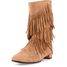 Roger Vivier Prismick Suede Fringe Mid-Calf Boot ($1,250) ❤ liked on Polyvore featuring shoes, boots, shoes booties, tabacco chiaro, mid calf fringe boots, suede shoes, slipon boots, fringe boots and fringe shoes