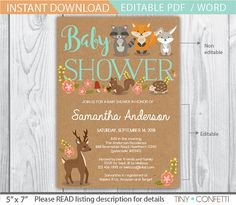 woodland baby shower invites - woodland baby shower invitation - forest animals baby shower - fall baby shower - animal baby shower - fox by TinyConfetti