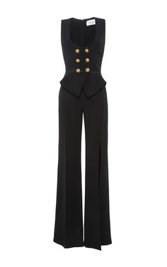 This **Zuhair Murad** jumpsuit features double-breasted button details at the bodice, a structured peplum waist detail, and a slit at the leg. Kpop Fashion Outfits, Stage Outfits, Edgy Outfits, Classy Outfits, Pretty Outfits, Fashion Dresses, Cute Outfits, Ideias Fashion, Zuhair Murad