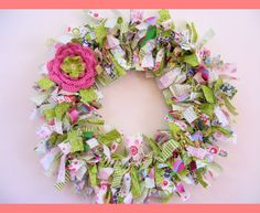 Handmade fabric rag wreath