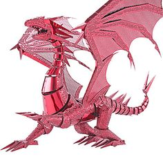 3D+Puzzles+For+Gift++Building+Blocks+Model+&+Building+Toy+Dragon+Metal+Above+14+Red+/+Silver+Toys+–+USD+$+17.99