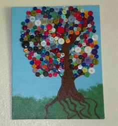 diy button tree on canvas Fun Crafts, Crafts For Kids, Arts And Crafts, Projects For Kids, Craft Projects, Craft Ideas, Button Tree Art, Diy Buttons, Craft Corner