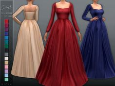 Celeste Gown - The Sims 4 Sims 3 Mods, Sims 4 Mods Clothes, Sims 4 Clothing, Maxis, Free Sims 4, Sims Medieval, Sims 4 Teen, Sims4 Clothes, Sims 4 Dresses