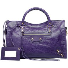 Balenciaga Classic Gold City Purple ($1,545) ❤ liked on Polyvore