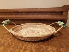 Vintage Round Woven Wicker Tray w/ Ceramic Handles - Green and White Flourish Design - 10 Diameter Shallow Basket by RandomActsofVintage on Etsy