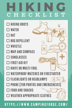 A Hiking Checklist To Help You Plan Your Next Adventure - Camping Ideas Go Hiking, Hiking Tips, Hiking Gear, Hiking Backpack, Camping Gear, Camping Hacks, Van Camping, Hiking Food, Mountain Hiking