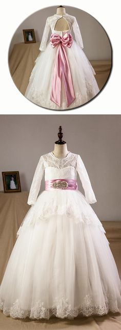 Ball Gown Floor-length Flower Girl Dress - Satin/Tulle/Lace Long Sleeves Scoop Neck With Sash/Beading/Bow(s)/Rhinestone/Back Hole (Petticoat NOT included) #Flowergirldress