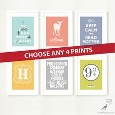 Harry Potter Posters 4 Print Set Christmas Stocking Stuffer for Boys and Girls Room Decor Inspirational Quotes Playroom Art For Kids Room