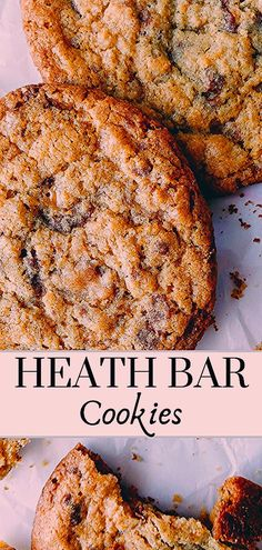 Easy heath bar cookie recipe right here! THE BEST cookies with toffee bits and chocolate rolled into a brown sugar cookie for a chewy and amazing flavor! Families, holidays, kids, friends- everyone will love these! Cookie Recipes From Scratch, Sugar Cookie Recipe Easy, Healthy Cookie Recipes, Oatmeal Cookie Recipes, Peanut Butter Cookie Recipe, Heath Bar Cookies, Cake Mix Cookies, Cookie Bars, Cookies Et Biscuits