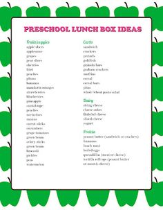 Preschool Lunch Box Ideas. Printable PDF with great ideas for kids' lunches!