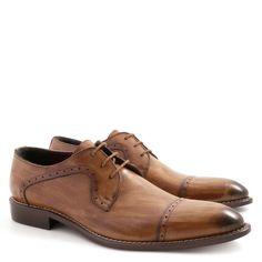 Handmade tan plain cap toe blucher shoes for men - Italian Boutique €304
