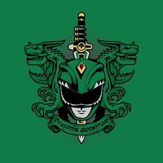 A Mighty Morphin Power Rangers t-shirt by PrimePremne. Latin Green Ranger and his Dragon Dagger. VIRIDIS DRACONIS MONSTRUM