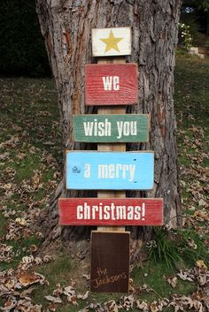 We Wish You A Merry Christmas! Wood Plank Christmas Tree Sign