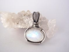 Rainbow Moonstone Pendant ~ Handcrafted with Eco-Friendly Recycled Sterling Silver ~ Lunar Goddess Talisman ~ Moon Magick Amulet by KarmicStar on Etsy