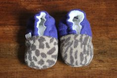 Leopard/Purple Baby Booties Lightweight Upcycled Cashmere Ready To Ship