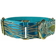 This is a martingale dog collar, also known as a Greyhound dog collar. This teal green dog collar features a sassy peacock pattern and is a very fancy dog collar!  Looking for a matching leash? you can find it here Looking for a martingale with an added quick-release buckle? Here is this pattern as a combo dog collar. We also offer this same pattern in fuchsia!