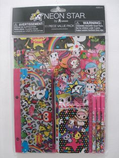Tokidoki Neon Star 11 Piece Stationery Set Notebook Pen Ruler Pencil Eraser NWT #FABStarpoint