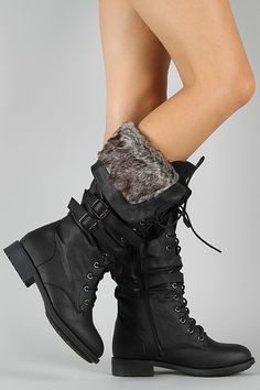 Nut-6 Buckle Lace Up Military Knee High Boot.