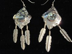 Dangling-hoop Concho/Feather Silver Plated Abalone Earrings #UpstreamTradingCompany #DropDangle