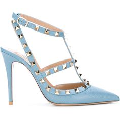 Valentino Garavani Rockstud pumps (4.115 RON) ❤ liked on Polyvore featuring shoes, pumps, blue, heels, scarpe, pointy-toe pumps, leather pointed toe pumps, stiletto heel pumps, blue heeled shoes and blue pointed toe pumps