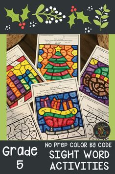 These no prep differentiated color by code sight word activities are the perfect answer to help your fifth grade students increase their fluency and reading comprehension skills during December.  These print and go printables are perfect for your literacy centers or morning work and guaranteed to keep your kinders begging for more!  #5thGrade #sightwords #literacycenterideas #fluency #reading #decembermorningwork #daily5 #frysightwords
