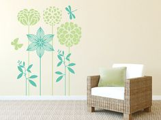 Decorative Flowers Wall Decals Graphic Vinyl Sticker Bedroom Living Room Wall Home Decor Vinyl Wall Decals, Wall Stickers, Doodle, Decorative Leaves, Flower Wall Decals, Monogram Wall, Custom Wall, Floral Wall, Flower Decorations