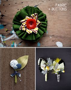 Fabric felt and button buttonholes. Read More - http://onefabday.com/buttonholes-and-boutonnieres/