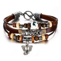 Leather Bracelet for Women Multilayer Charm Bangle Wrap Braided Rope Bohemia,20cm