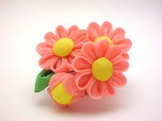Tsumami kanzashi Pink Daisy Hair Clip Daisy Corsage by JagataraArt